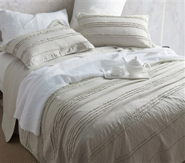 Ruffled Stone Washed Quilt - Silver Birch - Twin XL