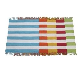 Hand-Woven Striped Rug - Pure Cotton