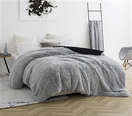 Coma Inducer Twin XL Duvet Cover - Are You Kidding? - Glacier Gray/Black