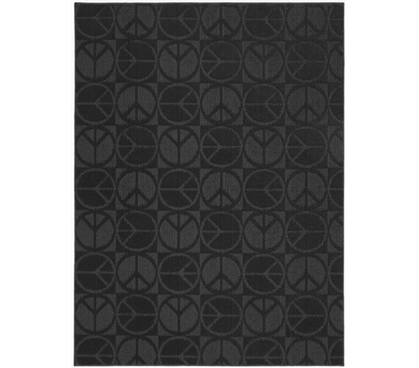 Add Character To Your Dorm - Black Peace Rug - Great For Dorm Floors
