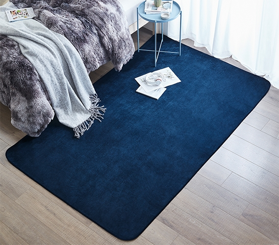 Microfiber Dorm Rug Navy Blue is an affordably cheap dorm rug option