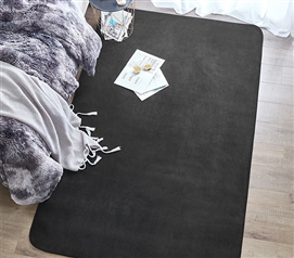 Quality, soft and comfortable dorm carpet neutral black Machine Washable Dorm Rug