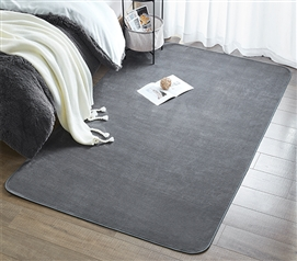 Must Have Dorm Item - Microfiber Dorm Rug - Steele Gray - Keep Floors Soft