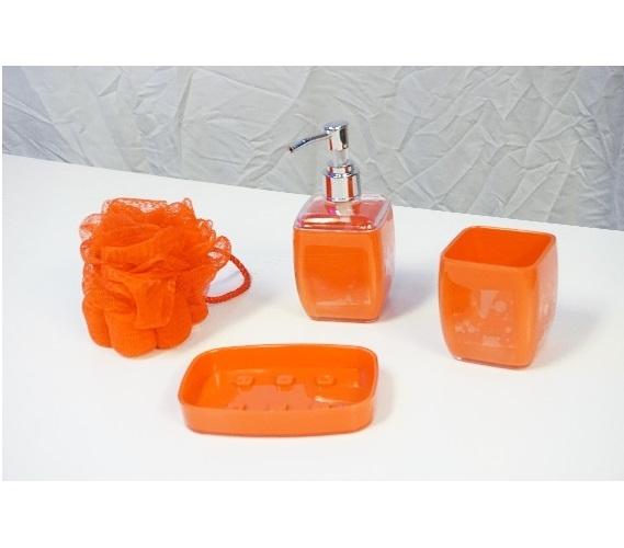 bathroom accessories set 4 pieces - Burnt Orange Bath Set