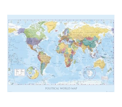 Political World Map College Dorm Room Poster Decorations