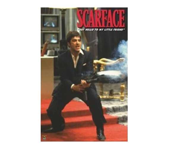 Scarface Machine Gun College Dorm Poster Fun Movie Inspired Mob Pacino