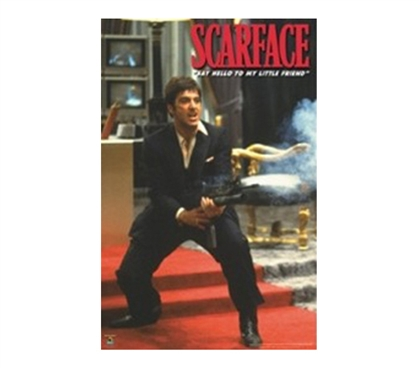 Scarface-Machine Gun College Dorm Poster easy dorm room decor item features Al Pacino in intense shooting scene