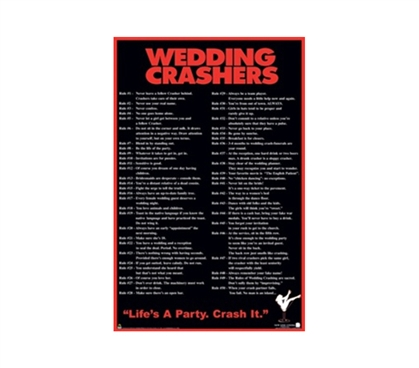 Wedding Crashers Funny College Dorm Wall Poster dorm room size boys college decoration features wedding crashers tips