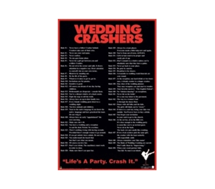 Wedding Crashers College Humor Dorm Wall Poster cool dorm room decoration with funny wedding crashers tips