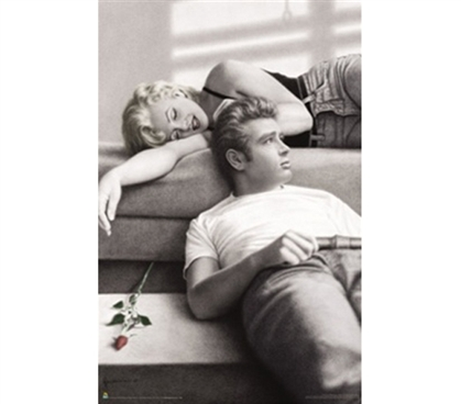 M. Monroe/J. Dean Rose Pose College Dorm Poster James Dean and Marilyn Monroe black and white college poster