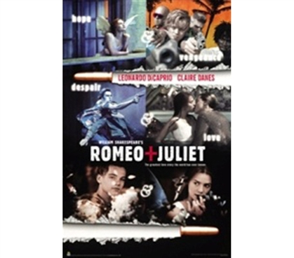 Romeo & Juliet Movie College Dorm Room Poster romantic movie themed dorm room college poster features Romeo and Juliet