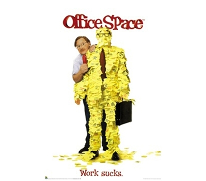 Office Space  Work Sucks College Dorm Room Poster funny Office Space guy poses in this dorm room decorating poster