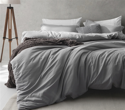 Gray Extra Long Twin Bedding Alloy Gray Supersoft Fashionable Twin XL Duvet Cover