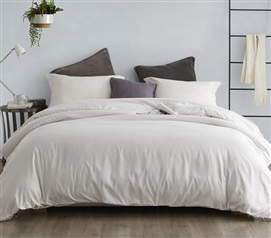 Stylish Off-White College Duvet Cover Essential Jet Stream Supersoft Extra Long Twin Bedding
