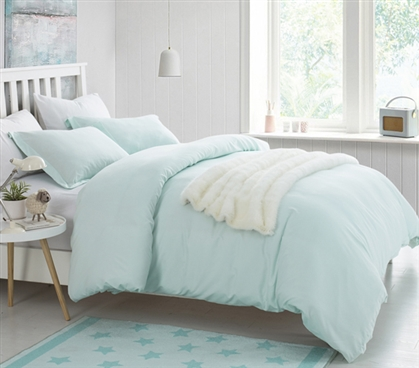 Hint of Mint Supersoft College Bedding - Twin XL Duvet Cover