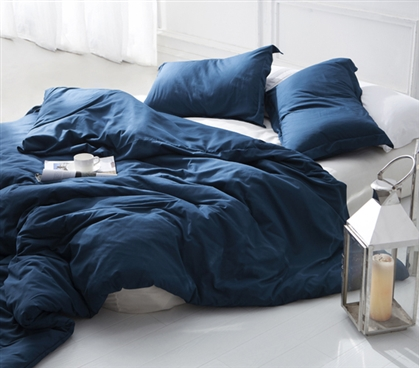 Twin XL Supersoft Bedding Essential Comfortable Dorm Room Duvet Cover Stylish Nightfall Navy