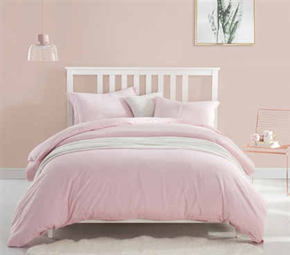 Beautiful Pink Dorm Room Bedding Stylish Rose Quartz Twin XL Supersoft College Duvet Cover