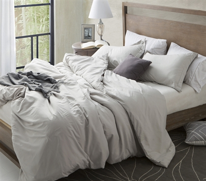Khaki Beige Extra Long Twin Duvet Cover Stylish Silver Birch Comfy Supersoft College Bedding