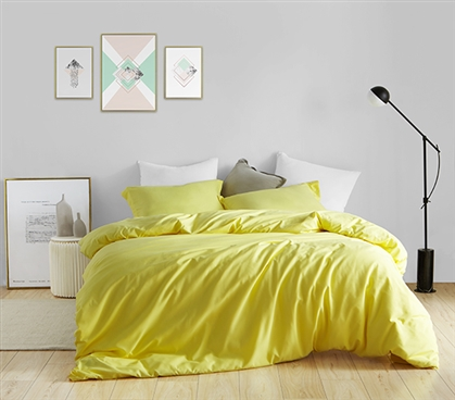 Duvet Cover Limelight Yellow Supersoft College Bedding - Twin XL