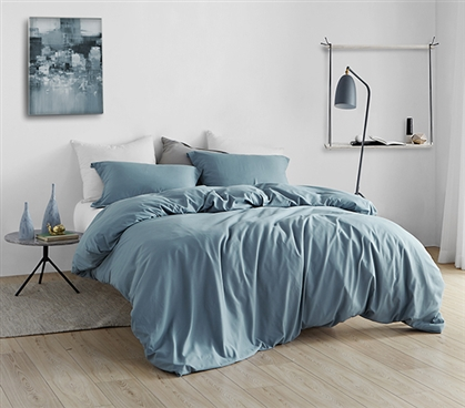 Duvet Cover Smoke Blue Supersoft College Bedding - Twin XL