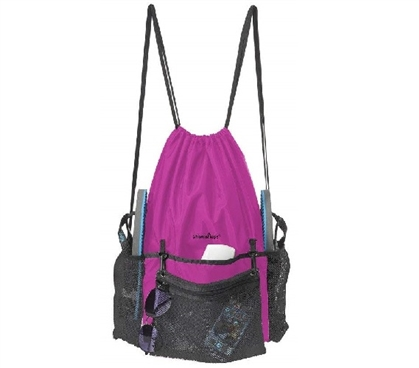 ShowaBag - Waterproof Drawstring Shower Backpack - Pink/Black