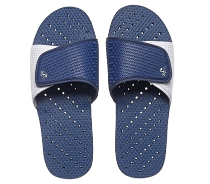 Showaflops - Men's Antimicrobial Shower Sandal - Navy/White