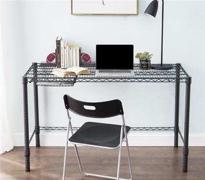 Heavy Duty College Desk Standard Size Suprima Gunmetal Gray Carbon Steel Dorm Room Essential