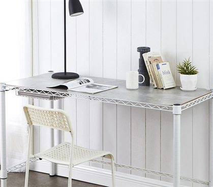 Stylish Marble Gray Wooden Shelf Essential Dorm Shelving for Standard Size Suprima College Desk
