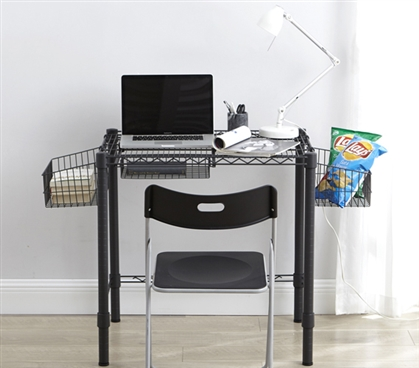 Essential Dorm Room Desk Gunmetal Gray Suprima Heavy Duty Carbon Steel Compact Size College Furniture