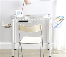 Heavy Duty Suprima Compact Carbon Steel Dorm Desk White Essential College Furniture
