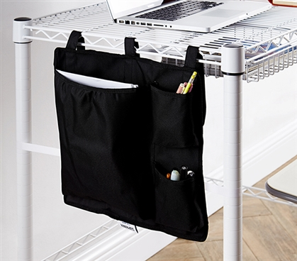 Essential College Storage One-of-a-Kind Black Suprima Shelf Pouch Useful Dorm Supplies