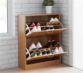 Yak About It Double Door Shoe Cabinet - Beech