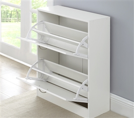 Yak About It Double Door Shoe Cabinet - White