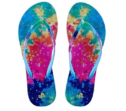 Showaflops - Women's Antimicrobial Shower Sandal - Tie Dye Dorm Essentials Shower Sandals