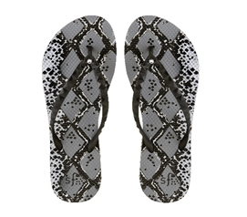 Showaflops - Women's Antimicrobial Shower Sandal - Silver Snakeskin with Rhinestones