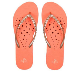 Showaflops - Women's Antimicrobial Shower Sandal - Orange/Gold