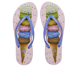 Showaflops - Women's Antimicrobial Shower Sandal - Ice Cream Cone Shower Shoes for College