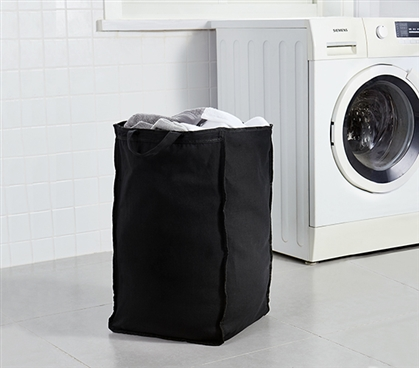 Black College Laundry Bag Suprima Essential Durable Large Dorm Room Laundry Accessory