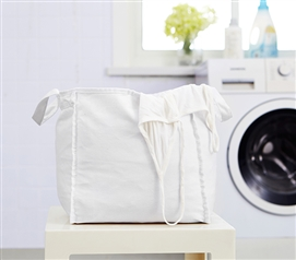 Essential College Laundry Items Sturdy Suprima Small White Clothes Bag Must Have Dorm Items