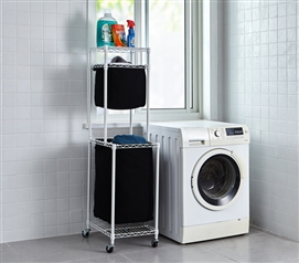 Suprima Laundry Station - White Frame with Black Clothes Bags