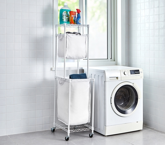 44fd8d44b6 Suprima Laundry Station - White Frame with White Clothes Bags