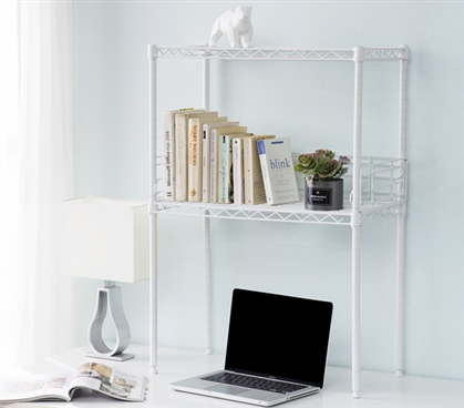 Suprima Mini Desktop Carbon Steel Bookshelf - Small Version - White