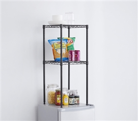 Essential College Storage One of a Kind Suprima Mini-Fridge Dorm Organizer Shelves in Gunmetal Gray