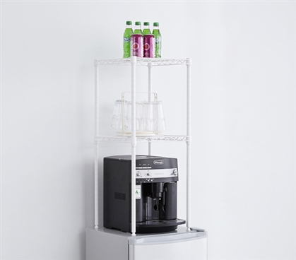 One-of-a-Kind College Mini-Fridge Organizer Suprima Unique White Dorm Room Storage Shelves