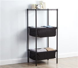 Unique Black Fabric Bin Style College Shelving Gunmetal Gray Frame Suprima Mini Shelf Supreme Dorm Room Furniture