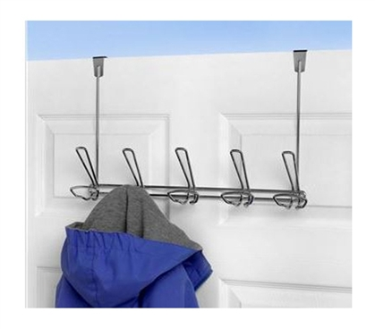 5 Gray Hook Hat And Coat Over-Door Hanger College Supplies