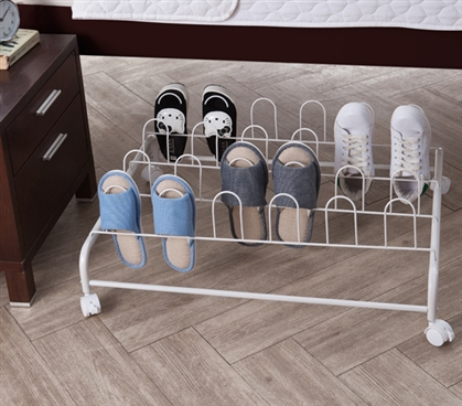 Suprima Underbed Shoe Holder with Wheels - White