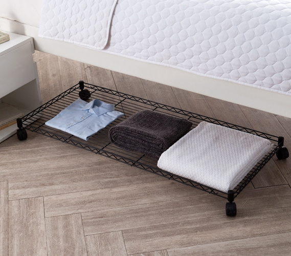 Suprima Rolling Underbed Storage Shelf Black