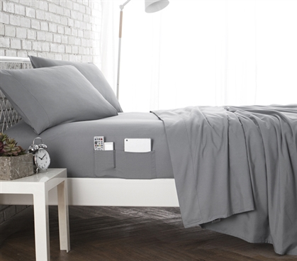 Bedside Pocket Twin XL Sheet Set - Supersoft Gray