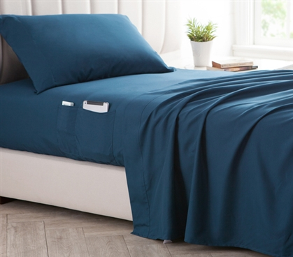 Bedside Pocket Twin XL Sheet Set - Supersoft Nightfall Navy
